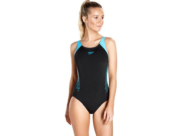 6953717a64569b speedo Boom Splice Muscleback Swimsuit Women black/turquoise at ...